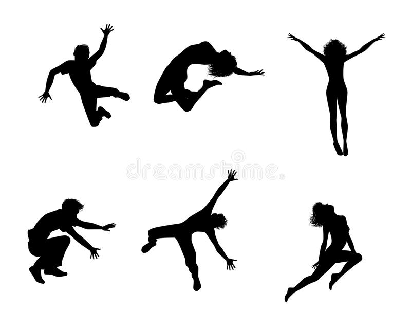 Zes springende tieners royalty-vrije illustratie