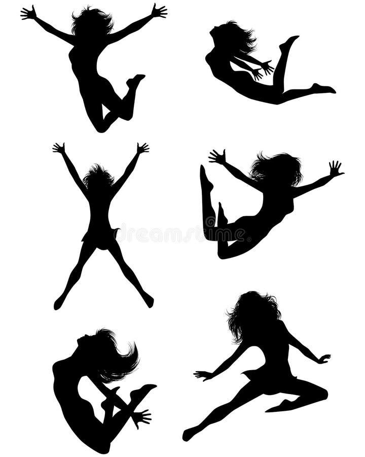 Zes springende tieners stock illustratie
