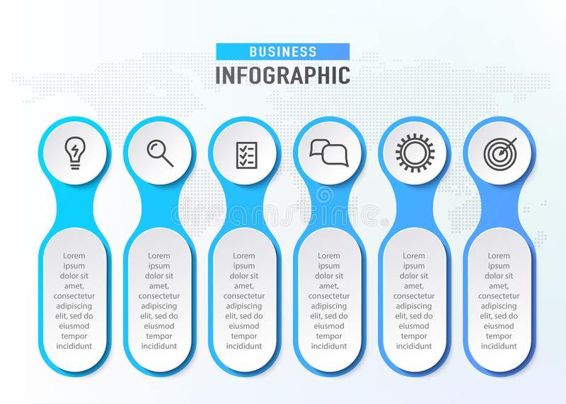 Zes stappenwerkschema Het diagram van de Infographgrafiek Chronologieelementen Bedrijfsconcepten infographic malplaatje Vector vector illustratie