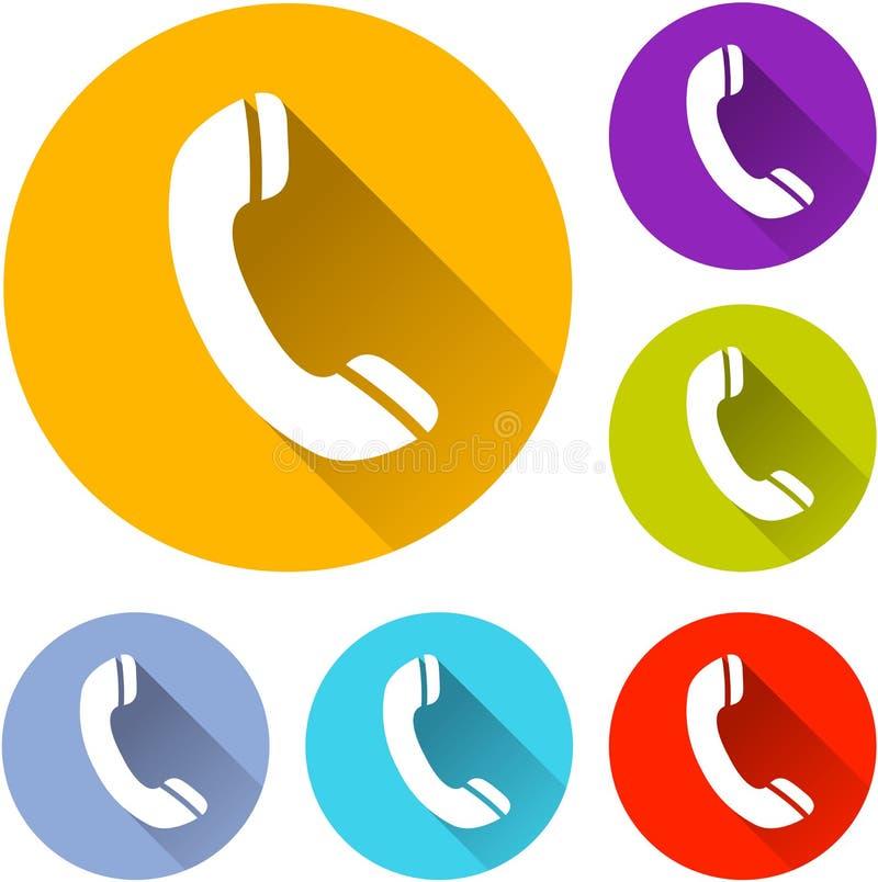 Zes telefoonpictogrammen stock illustratie