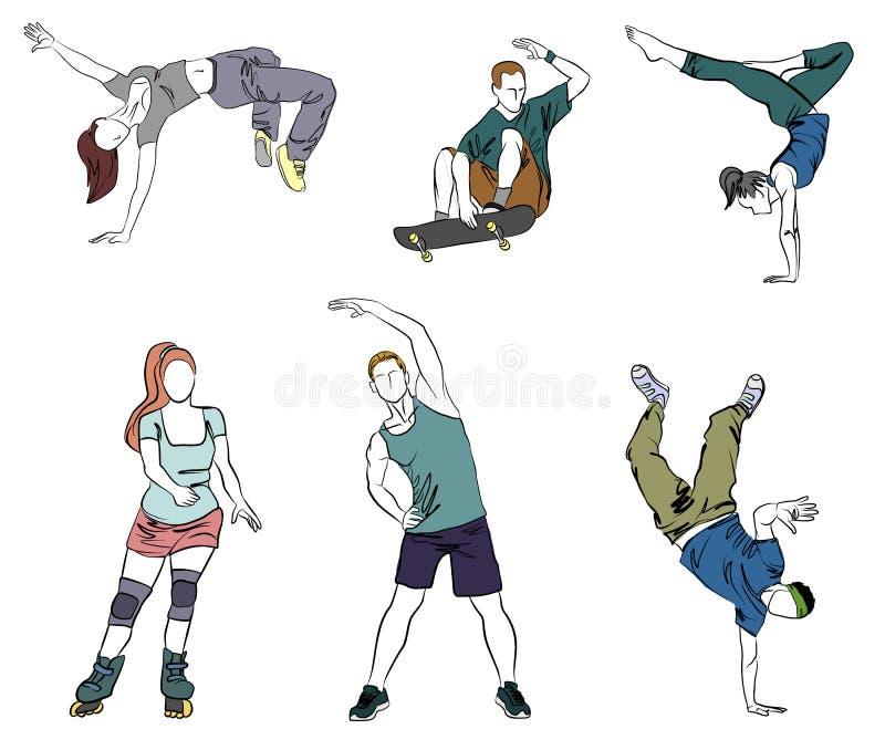 Zes tienerssilhouetten stock illustratie
