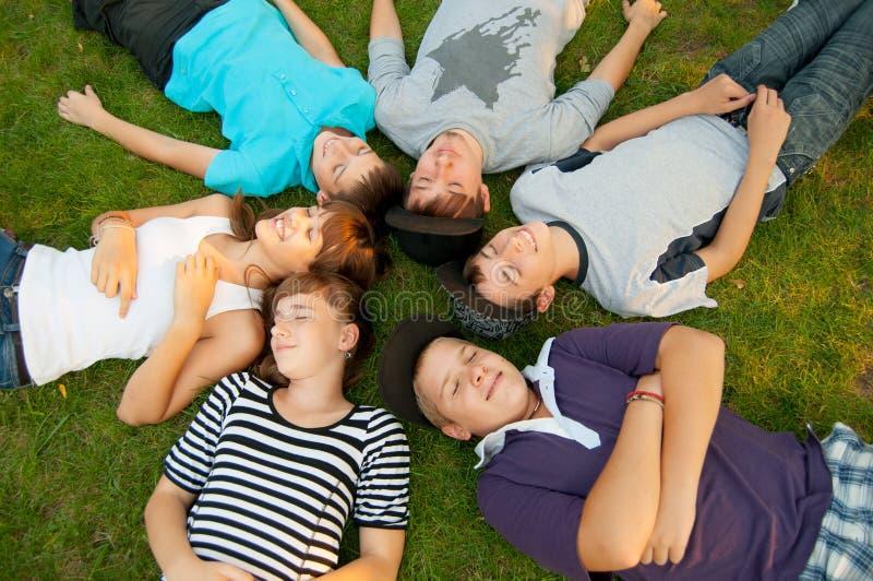 Zes tienervrienden die op het gras liggen stock fotografie