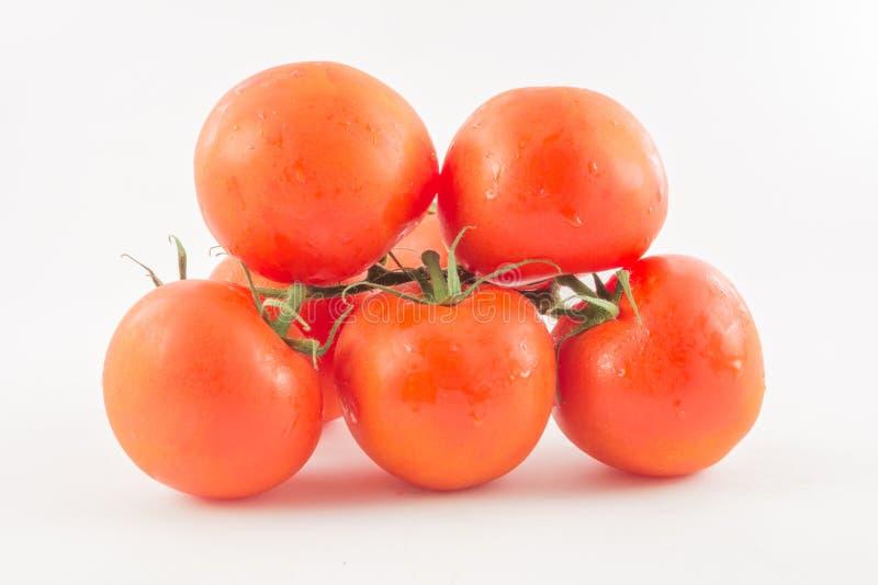 Zes unpeeled, verse, rode tomaten met groene staarten op witte rug royalty-vrije stock afbeeldingen