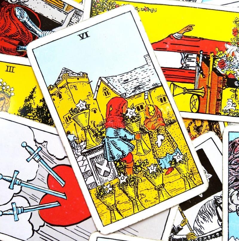 6 zes van de Kaart Emotionele Veiligheid die van het Koppentarot voor het Geven worden gegeven en ontvangend Openheid die de Lief vector illustratie