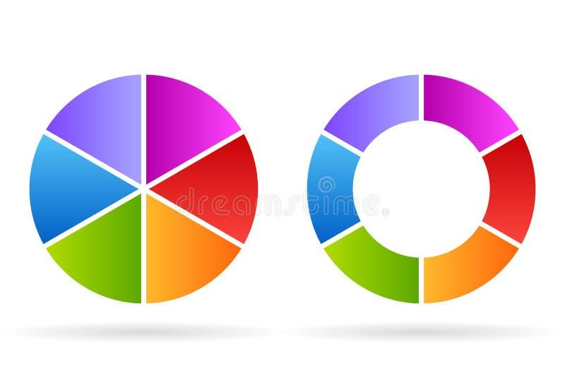Zes van het cyclussegmenten diagram vector illustratie