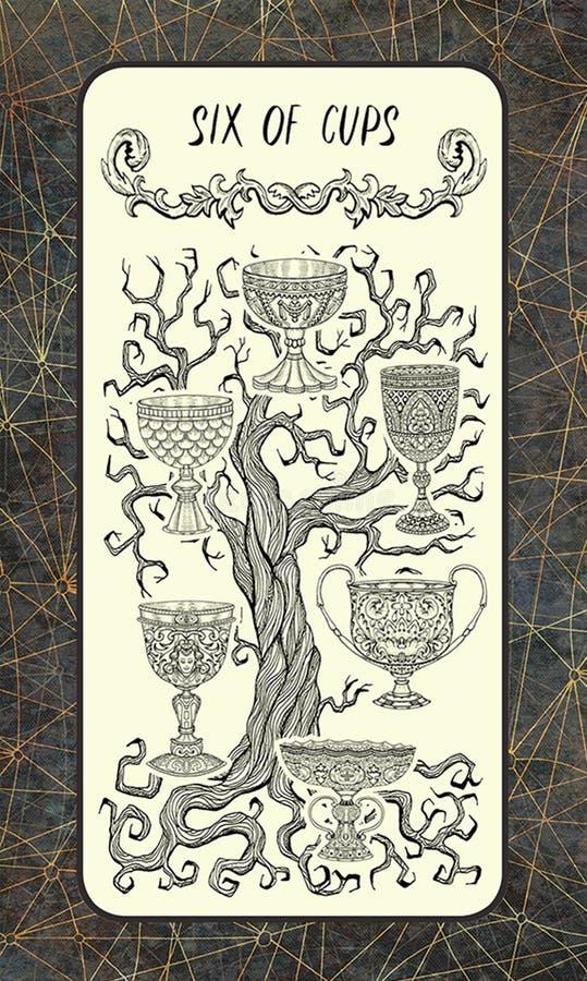 Zes van koppen De Magische kaart van het Poorttarot royalty-vrije illustratie
