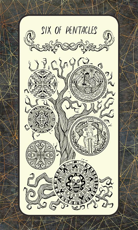 Zes van pentacles De Magische kaart van het Poorttarot vector illustratie