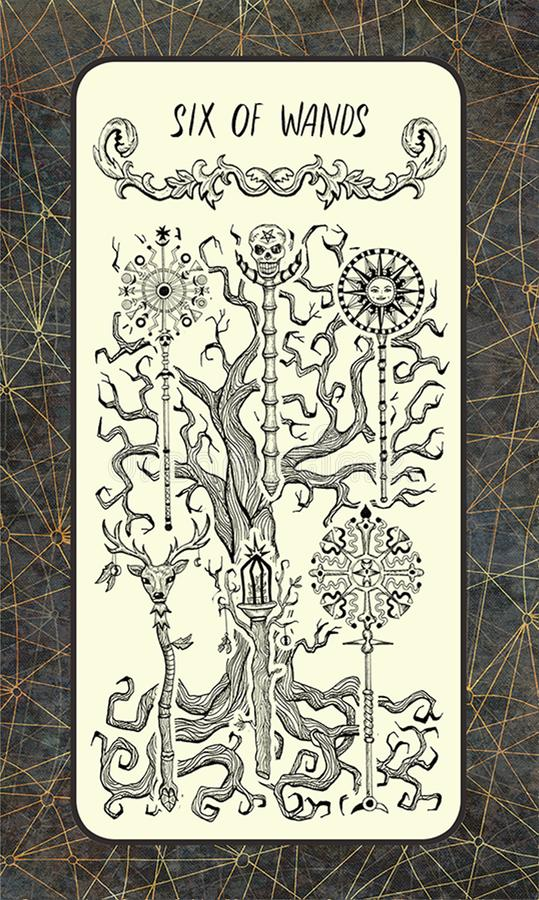 Zes van toverstokjes De Magische kaart van het Poorttarot royalty-vrije illustratie