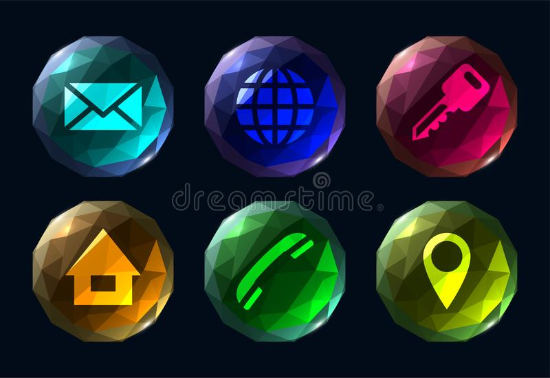 Zes veelhoekig kleurrijk knopen ui pictogram stock illustratie