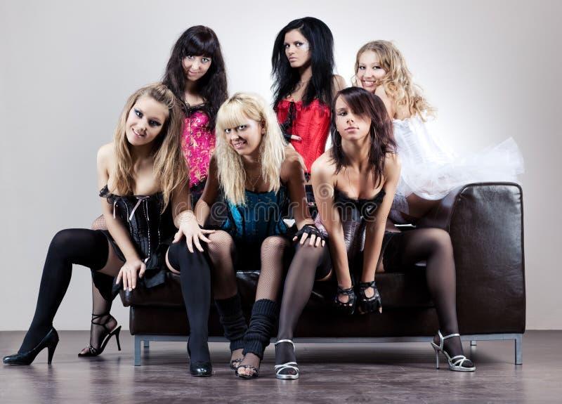 Zes vrouwenteam stock foto