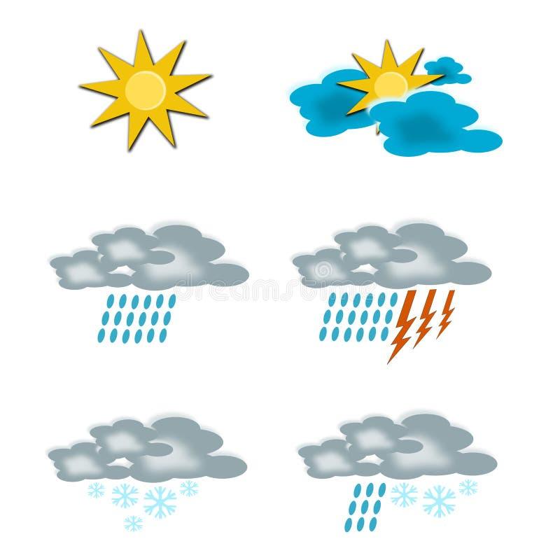 Zes weerpictogrammen stock illustratie