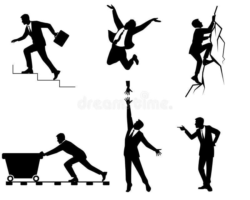 Zes zakenlieden in actie vector illustratie