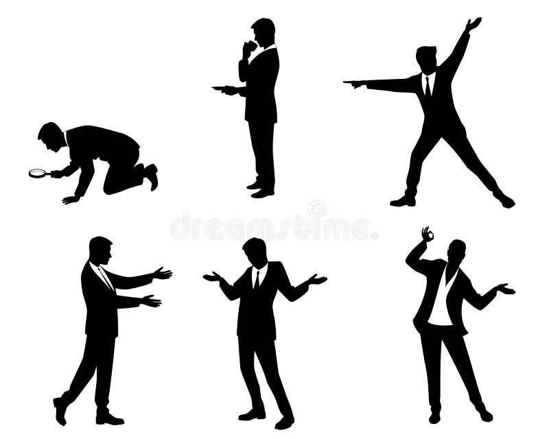Zes zakenlieden in actie stock illustratie