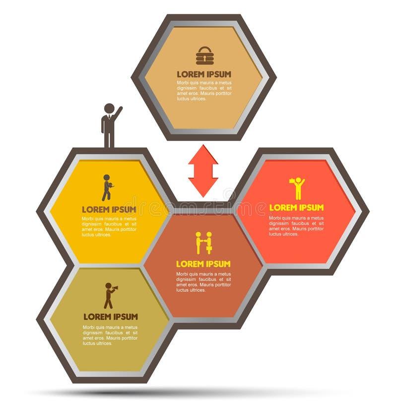 Zeshoek met bedrijfs geplaatste pictogrammen vector illustratie