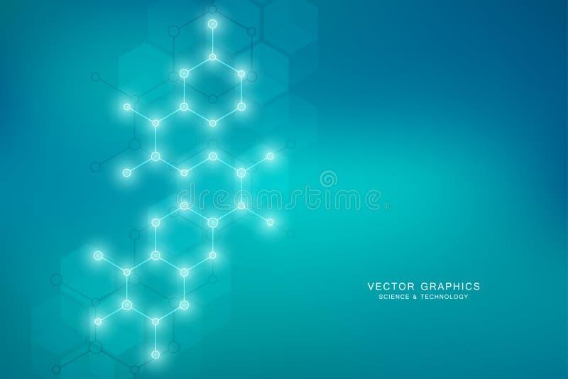 Zeshoekenontwerp voor medisch, wetenschap en digitale technologie Geometrische abstracte achtergrond met moleculaire structuur en stock illustratie