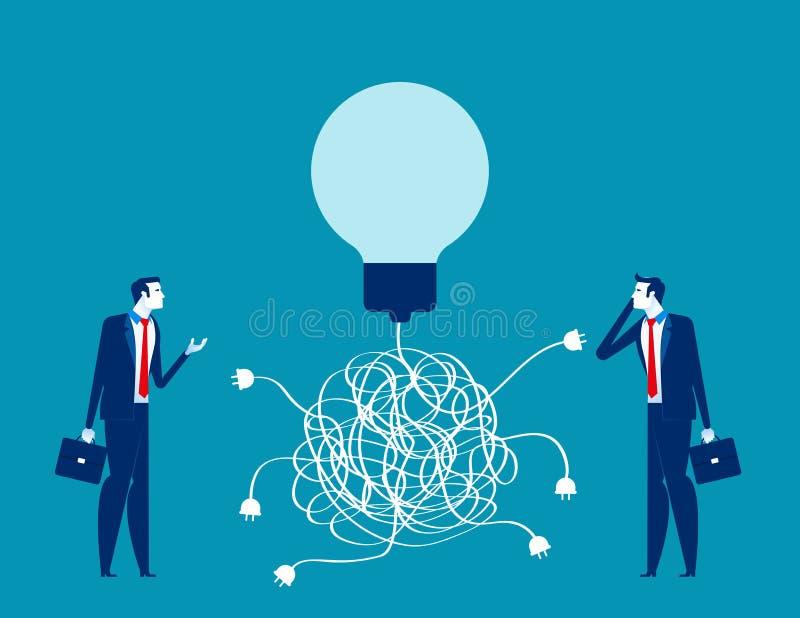 Zespół biznesowy i rozwiązanie, koncepcja wektora biznesowego, pomyłka, chaos, wybór ilustracji