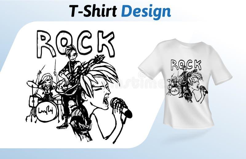 Zespół rockowy na scenie, pociągany ręcznie koszulka druk Egzamin próbny w górę koszulka projekta szablonu Wektorowy szablon, odi ilustracja wektor