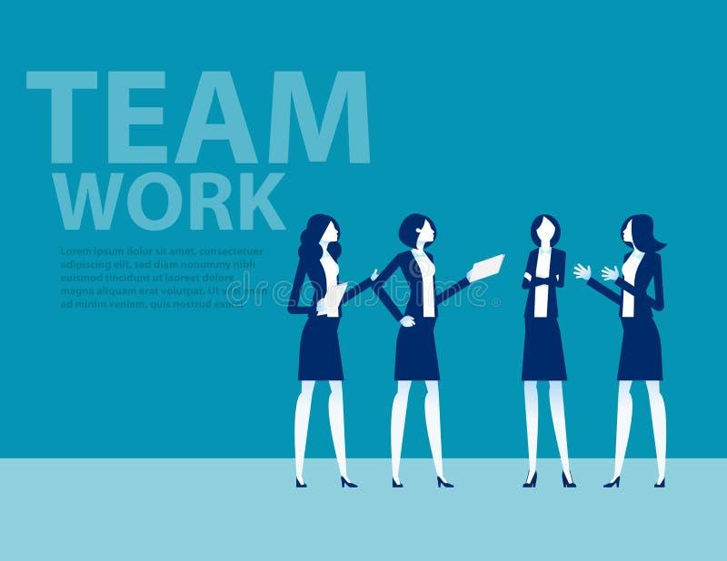 Zespół w garniturze biurowym Koncepcja spotkań i rozmów biznesowych Burza mózgów royalty ilustracja