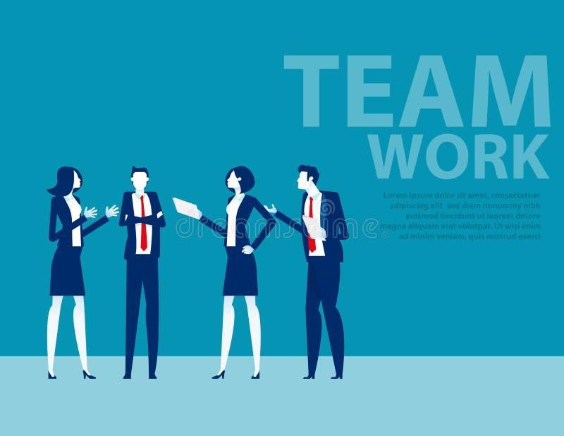 Zespół w garniturze biurowym Koncepcja spotkań i rozmów biznesowych Burza mózgów ilustracji