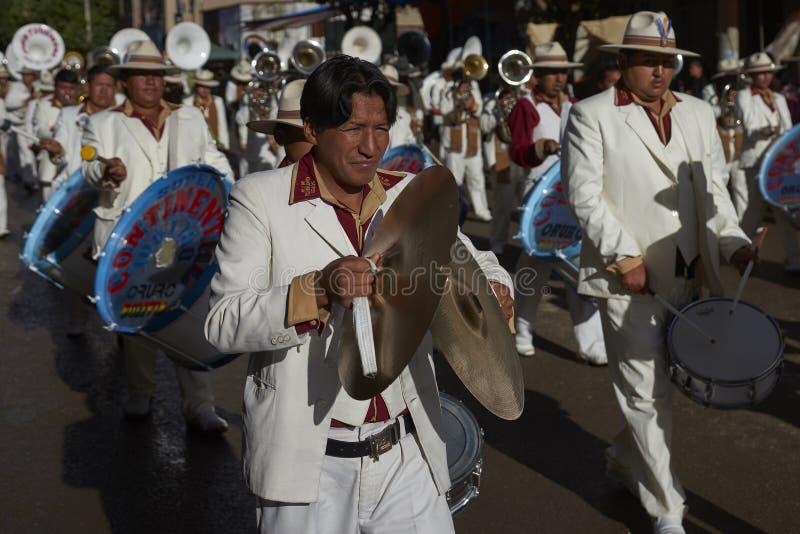 Zesp?? przy Oruro karnawa?em w Boliwia zdjęcia royalty free