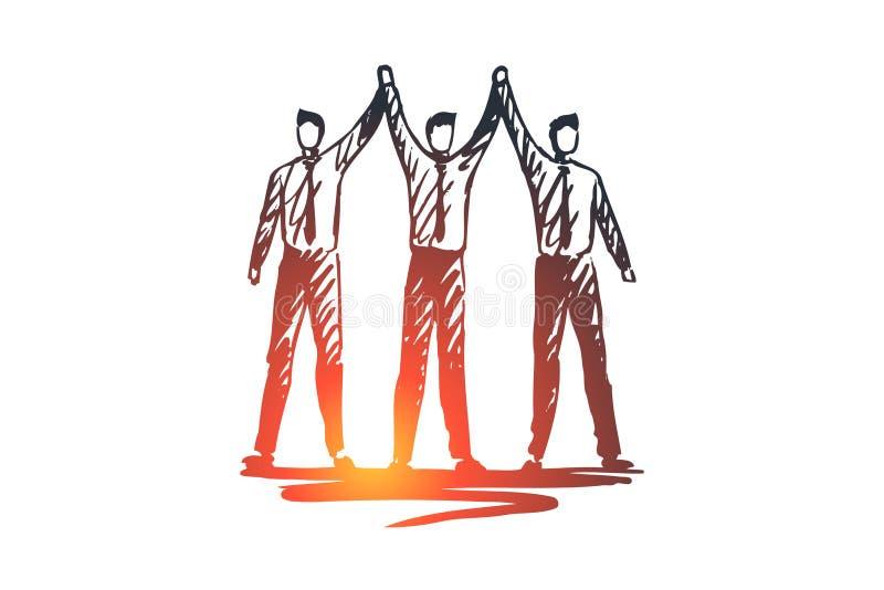 Zespala się, pracuje, zaludnia, grupuje, partnerstwa pojęcie Ręka rysujący odosobniony wektor ilustracja wektor