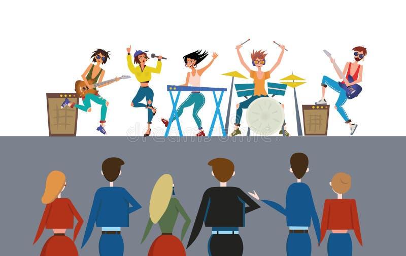 Zespołu rockowego spełnianie przed widownią Rockowy przedstawienie i tłum Kolorowy płaski wektorowy ilustration, horyzontalny ilustracji