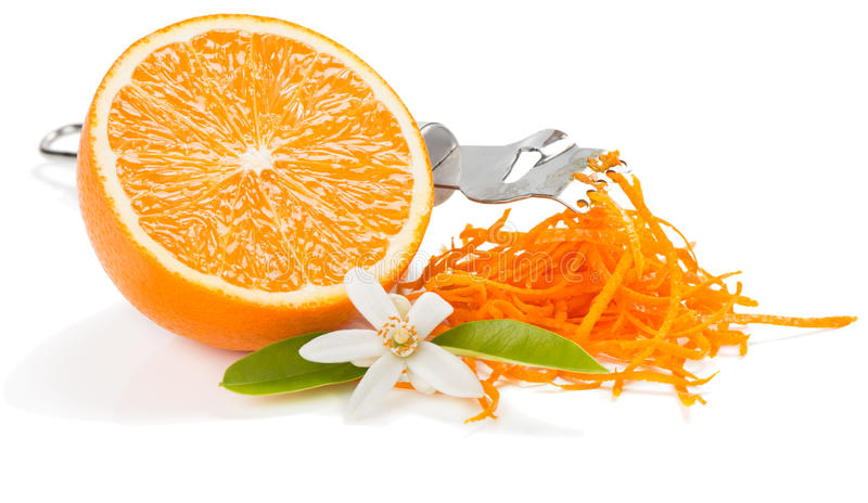 Zest and flower of orange fruit. stock photography