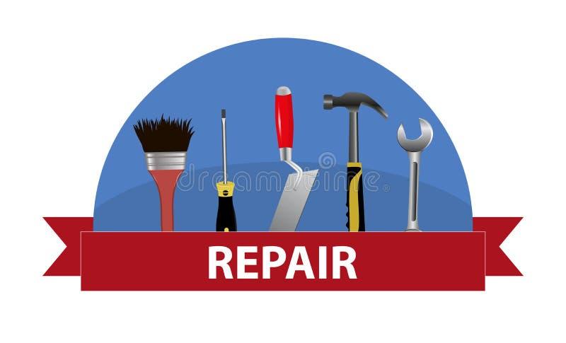 zestawów narzędzi Pojęcie logo dla usługa naprawy Kielnia, młot, ilustracji