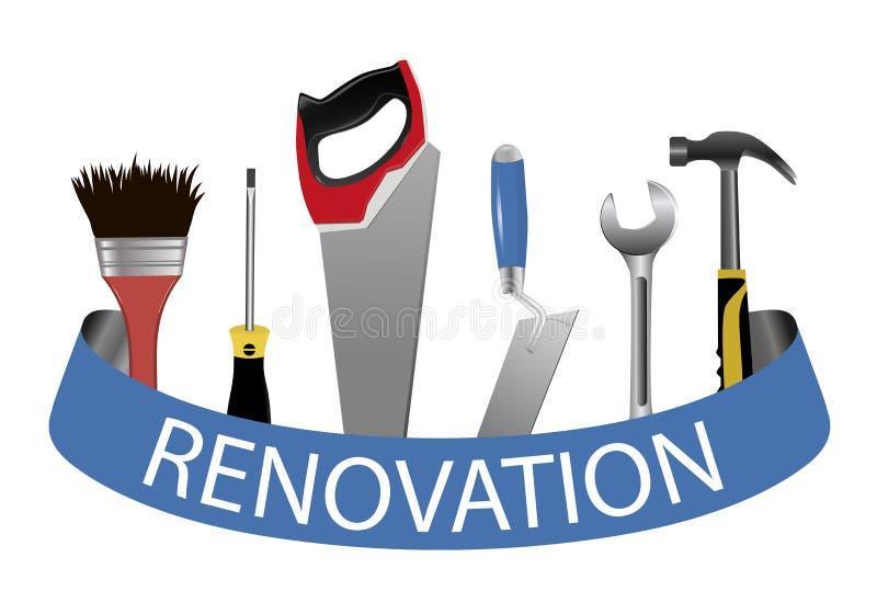 zestawów narzędzi Pojęcie logo dla usługowego odświeżania Kielnia, saw ilustracji