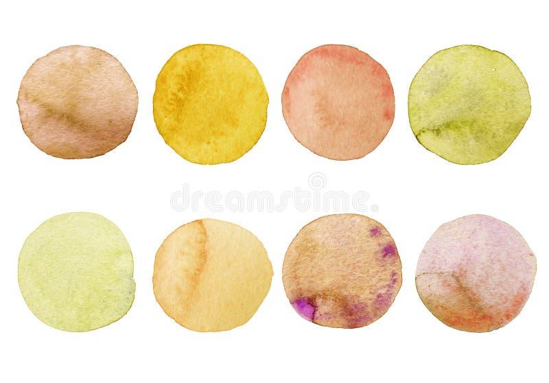 Zestaw żółtych i pomarańczowych okręgów wodnych Ręcznie malowane plamy na białym tle Okrągły Izolowany Bloki różnych obiektów royalty ilustracja