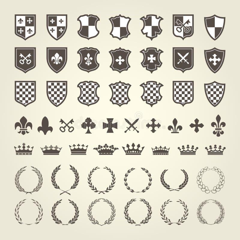 Zestaw żakiet ręki dla rycerz osłoien i królewskich emblematów ilustracji