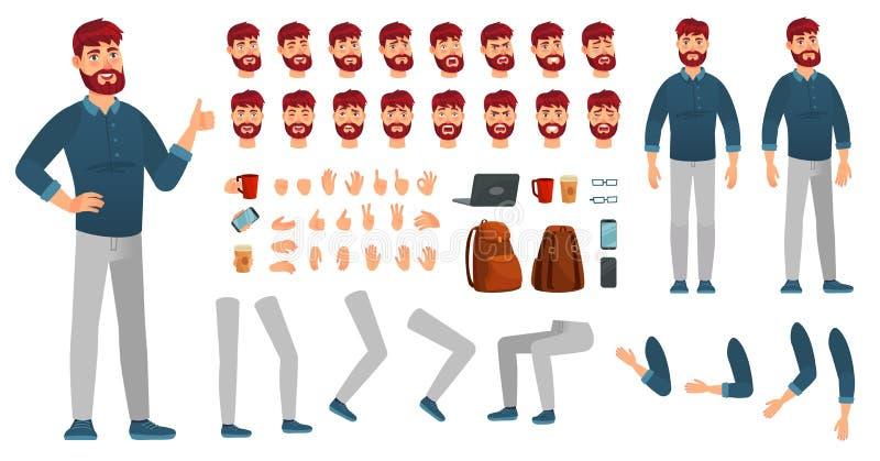 Zestaw bohaterów rysunkowych Mężczyzna w ubraniu, różnych rękach, nogach i emocjach twarzy Znaki royalty ilustracja