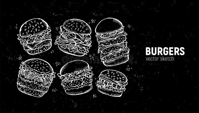 Zestaw burgerów. Scenariusz fast food. Kanapka z chiken, bekon, frytki i pozostałe ilustracji