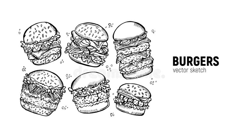Zestaw burgerów. Scenariusz fast food. Kanapka z chiken, bekon, frytki i pozostałe ilustracja wektor