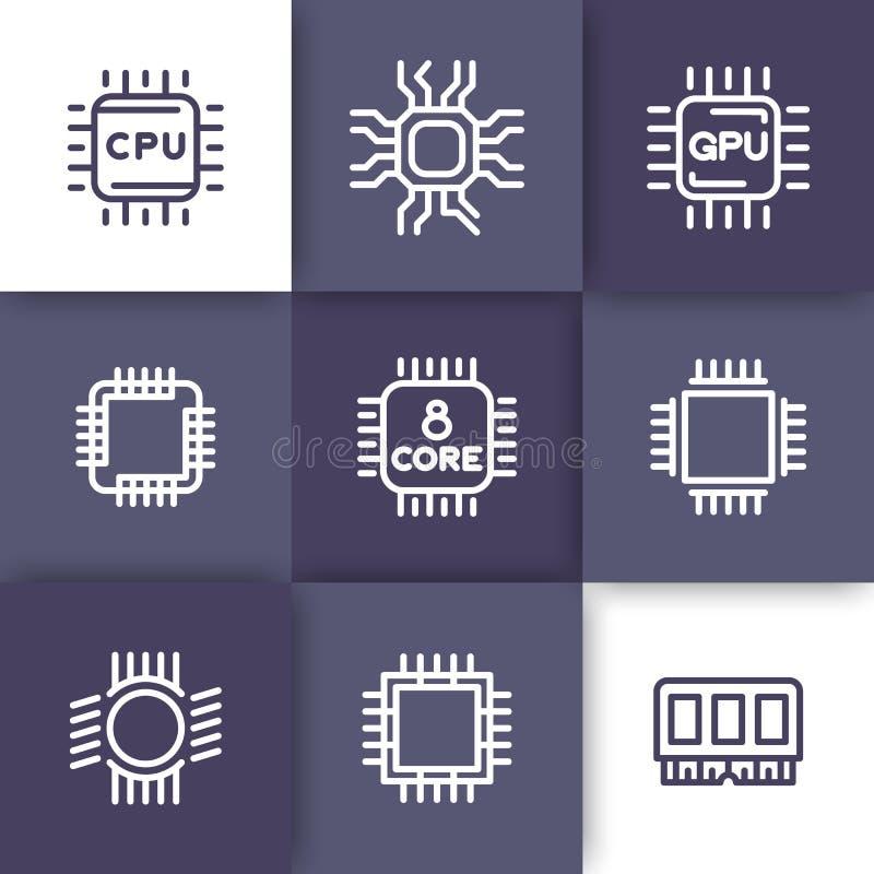 Zestaw chipów, jednostka centralna wykłada ikony ustawiać ilustracji