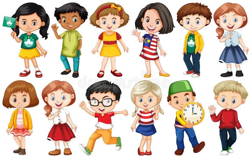 Zestaw dzieci z różnych krajów obraz stock