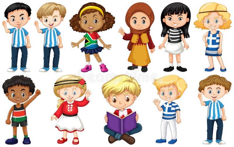 Zestaw dzieci z różnych krajów fotografia stock