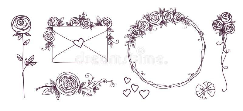 zestaw elementów kwiecisty projektów Kwiatów gałęziaści wianki kierowi Róża kwiaty Ślubny urodzinowy valentines dnia pojęcie royalty ilustracja