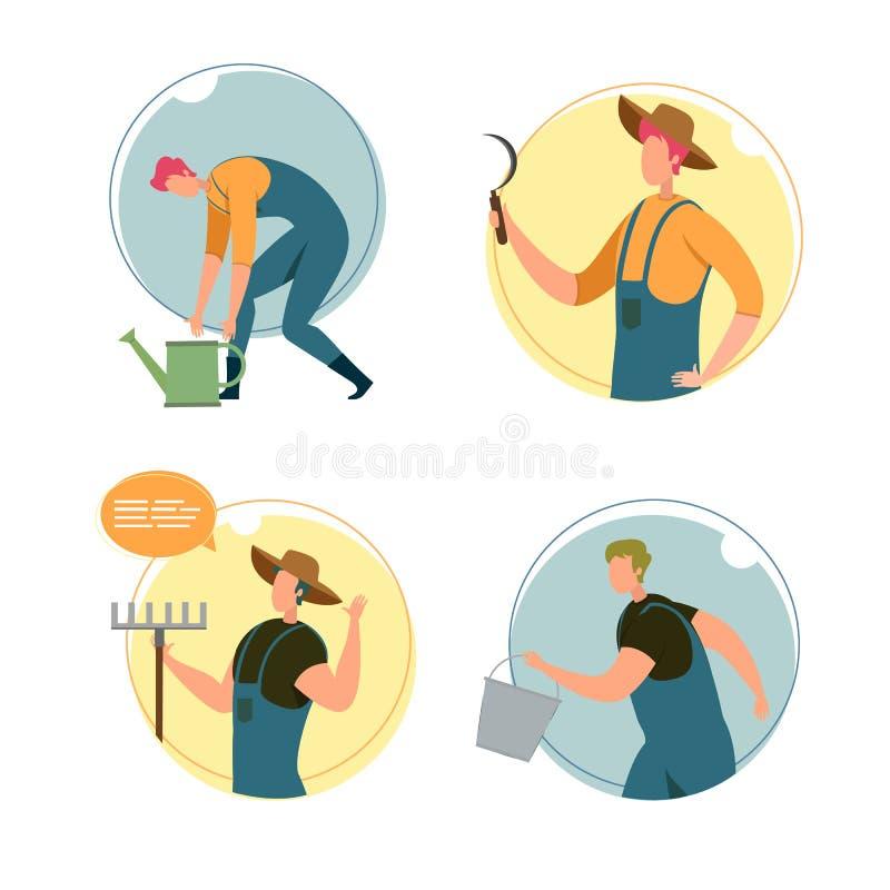 Zestaw, Happy Characters Farm Workers, Ilustracja ilustracja wektor
