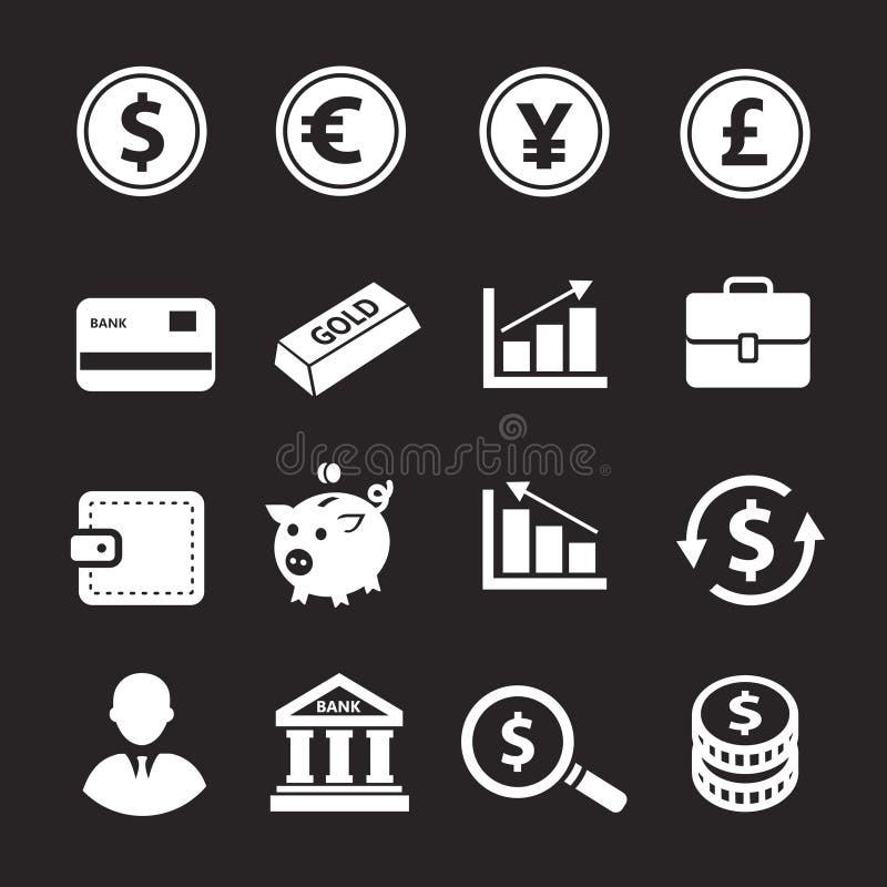 Zestaw ikon biznesowych i finansowych, bank, monety, kolekcja walut ilustracja wektor