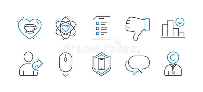 Zestaw ikon biznesowych, takich jak Refer friend, Reduasing Graph, Checklist Vector ilustracji