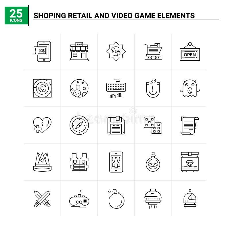 25 Zestaw ikon elementów gier Retail And Video Shoping tło wektorowe ilustracji