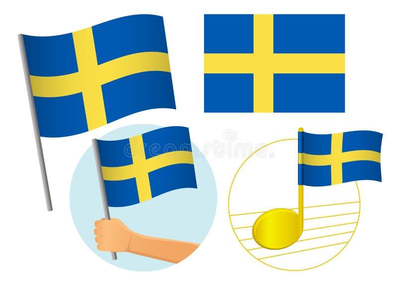 Zestaw ikon flagi Szwecji royalty ilustracja
