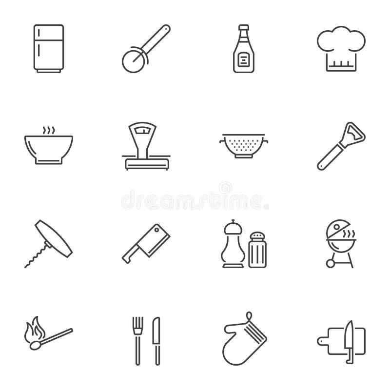 Zestaw ikon linii narzÄ™dzi kuchennych ilustracji