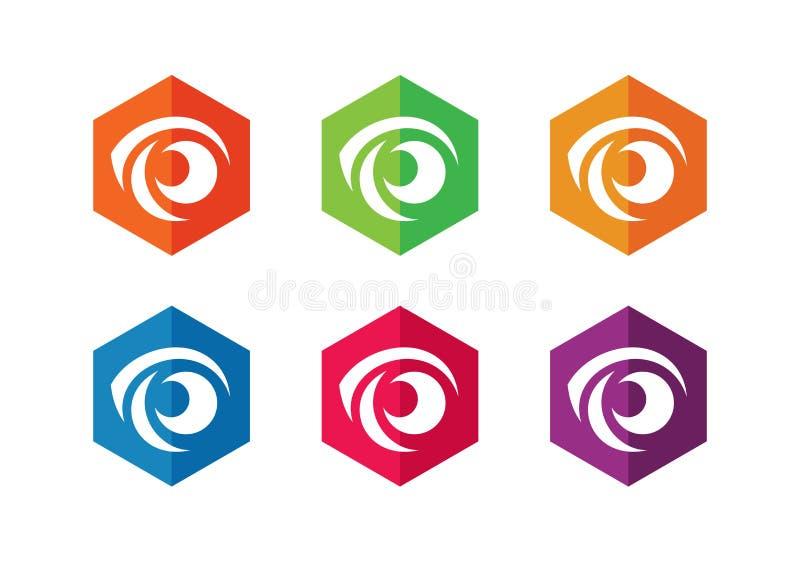Zestaw ikon logo sześciokątnego oka Symbol widzenia — wektor royalty ilustracja