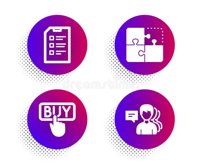 Zestaw ikon Puzzle, Checklist i Buying Znak osoby Strategia inżynieryjna, lista danych, zakupy w handlu elektronicznym Wektor ilustracja wektor