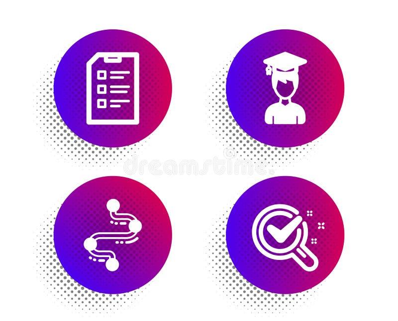 Zestaw ikon Student, Timeline i Checklist Znak laboratorium chemicznego Koniec oceny, ścieżka podróży, wektor listy danych ilustracja wektor