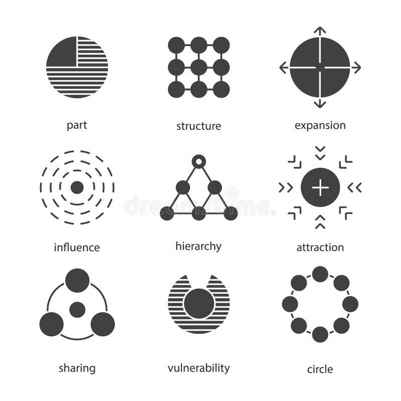 Zestaw ikon symboli abstrakcyjnych ilustracji