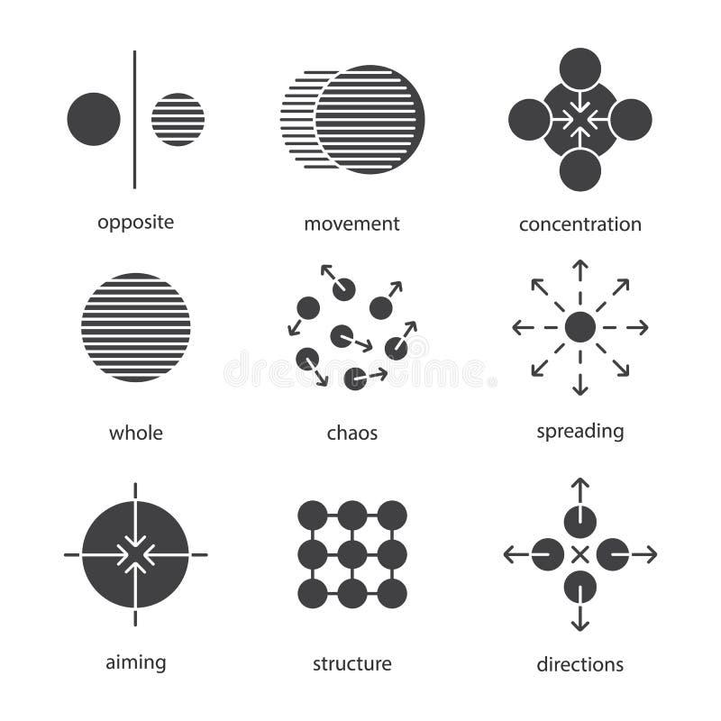 Zestaw ikon symboli abstrakcyjnych royalty ilustracja