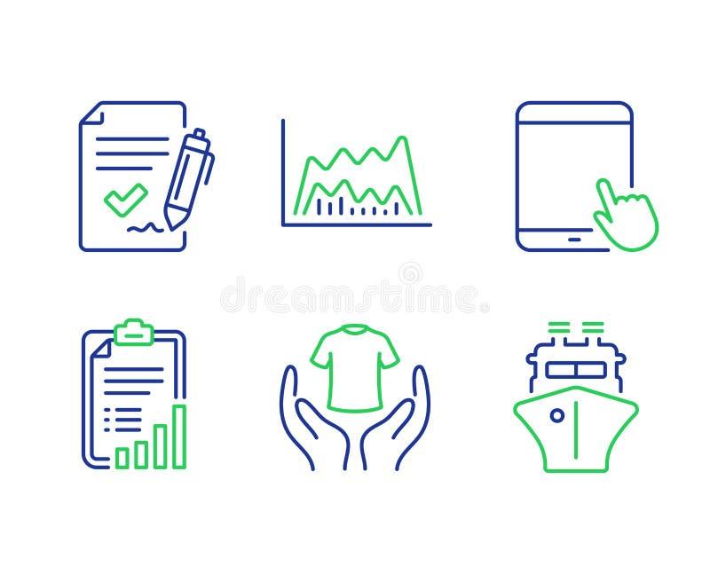 Zestaw ikon t-shirt, Checklist i Tablet PC Zatwierdzona umowa, schemat handlowy i znaki towarowe Wektor royalty ilustracja